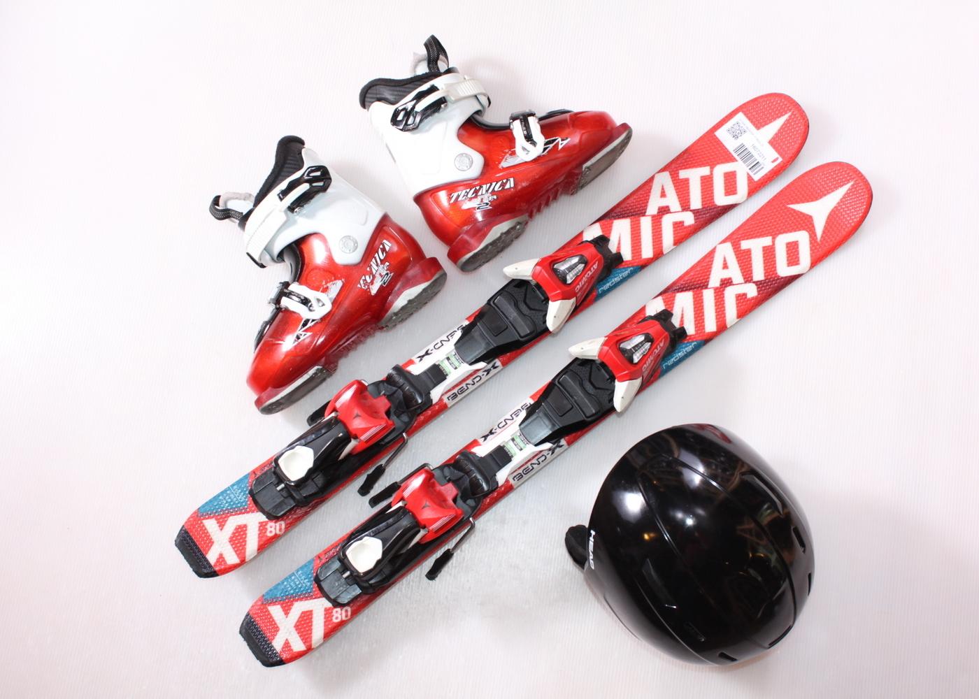 Dětské lyže ATOMIC REDSTER XT 80 cm + lyžáky  30EU + helma
