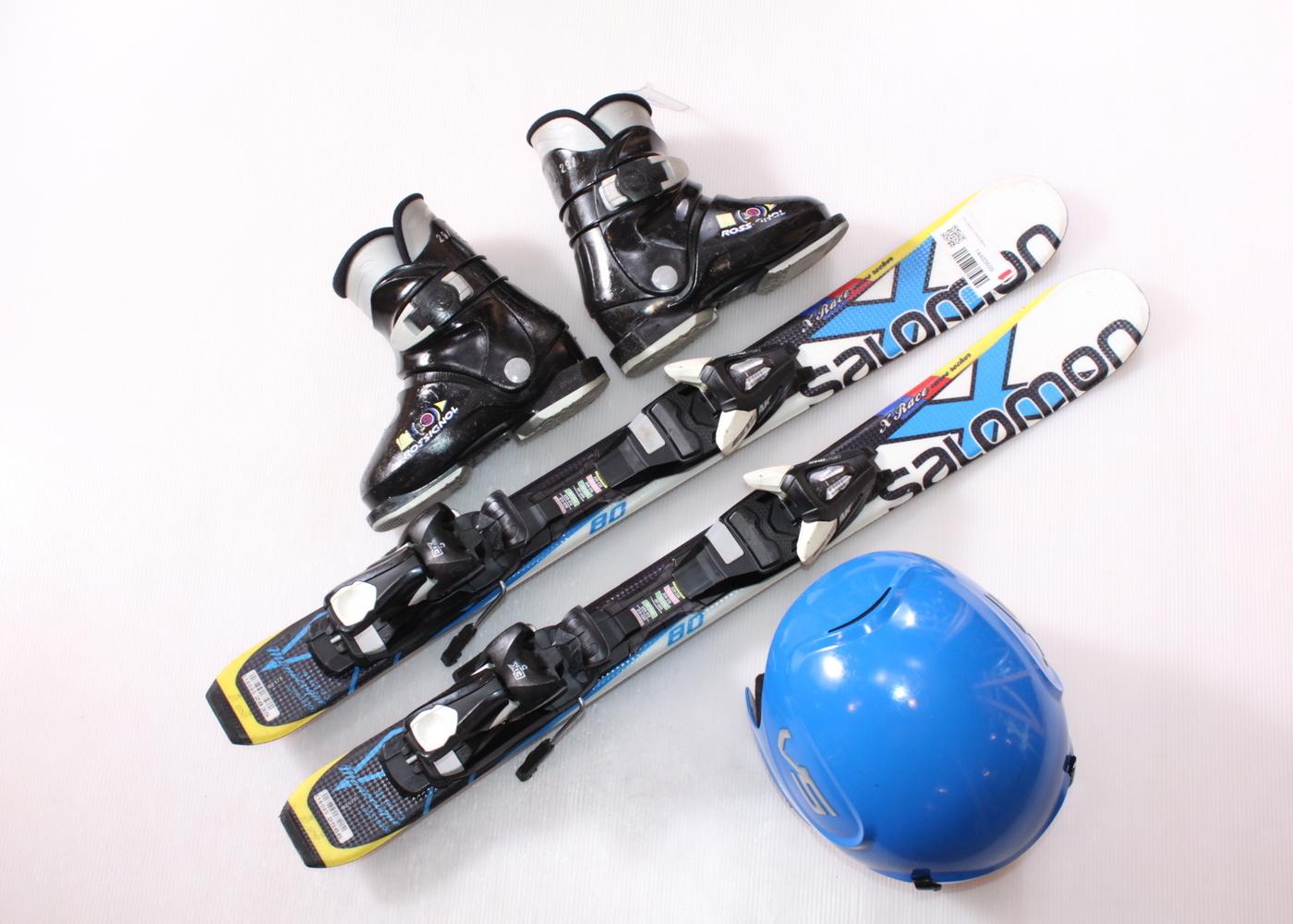 Dětské lyže SALOMON X RACE 80 cm + lyžáky  29EU + helma